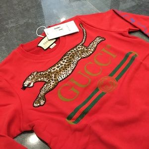 GUCCI Women Leopard Pattern Red Color Cotton NWT